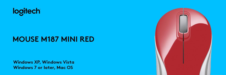 ماوس لاجیتک قرمز MOUSE M187 MINI
