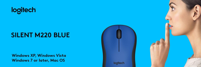 ماوس لاجیتک آبی MOUSE SILENT M220 RF BLUE